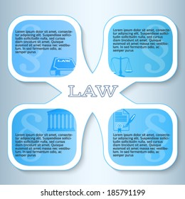 Modern design style infographic for Legal & law firm. Vector illustration eps 10. Can be used for business presentation or brochure template the justice office, notary company, business card lawyer