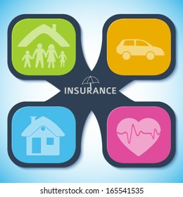 Modern Design style infographic template. Illustration of different kinds of insurance. Can be used for infographics and typography, chart process the insurance company, business service steps options