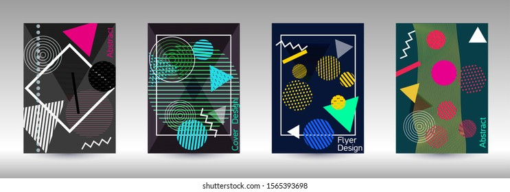 Modern design template. Abstract background in the style of Memphis.  Artistic geometric cover design.  Creative colors backgrounds. Vector.