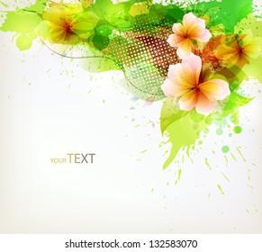 Modern Design template with floral design elements . Vector illustration