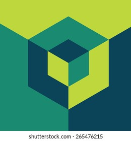 Modern design template. Isometric cube. Info-graphics style.