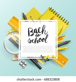 "Modern design template with school accessories and ""Back to school"" hand drawn lettering"