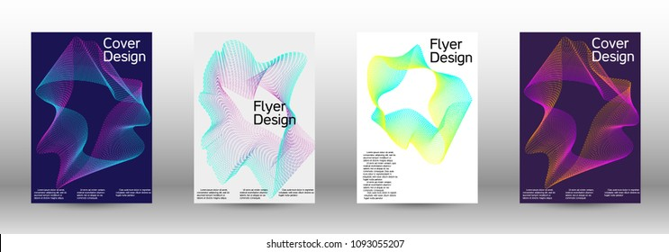 Modern design template. A set of modern abstract covers. Minimal vector cover design with abstract lines. Suitable for creating a fashionable abstract cover, banner, poster, booklet.