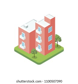 Modern design three floor building isometric 3D icon. City real estate element, property quarter, urban architecture vector illustration.