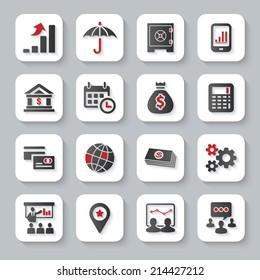 Modern design vector illustration flat icon set with long shadow style of financial business and money objects. Isolated on gray background.