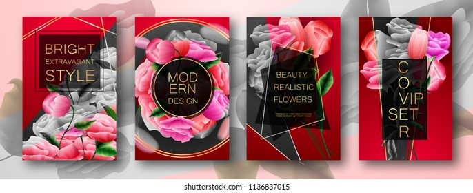 Modern Design Voucher Cover Set  Luxurious Red and Negative Color, Flowers, Rose, Tulips. Vip Black Style Frame For Text. Used on Flyers Banners or Web. Design Business Cards, Invitation. EPS 10.
