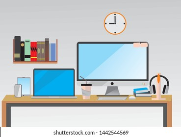 A modern desk with computer sets, documents and stationery is a work place for graphic designers and photographers, used for web templates, banners and presentations, flat computer icon sets, vector d