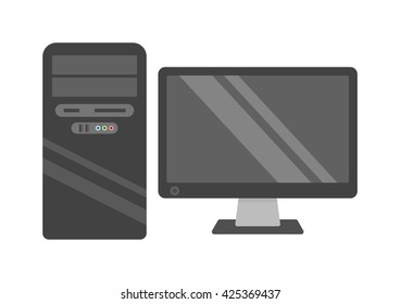 Modern desktop computer with wireless keyboard and desktop computer vector flat illustration