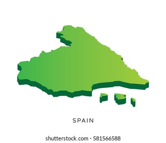 Modern Detail Isometric 3D Map - Spain