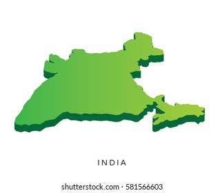 Modern Detail Isometric 3D Map - India