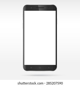 Modern detailed realistic abstract black smartphone, mobile phone, cellphone, tablet vector mockup. Curved edge blank screen. Isolated on light background