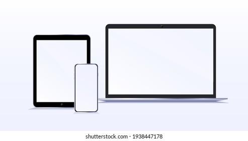 Modern devices with blank screens. Laptop smartphone and tablet mockup with blank screen isolated on background. Concept. Vector illustration