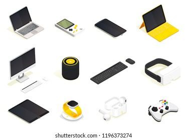 Modern devices isometric set. Wireless gadgets. Flat 3d vector isometric high quality.