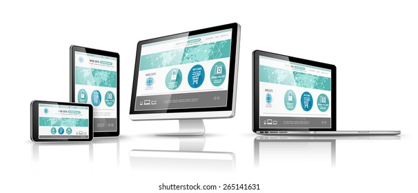 Modern devices with web design template. Vector illustration