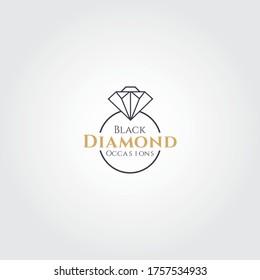 Modern Diamond ring vector logo design idea. Event planner, wedding planner, wedding coordinator, party planner