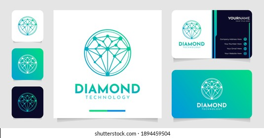 Modern diamond technology logo and business card template