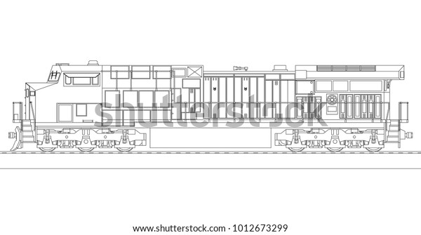 Modern sel Railway Locomotive Great Power Stock Vector ... on engine shed floor plans, railroad depot floor plans, trailer house floor plans, locomotive house plans, ho locomotive shed floor plans, railroad section house floor plans,