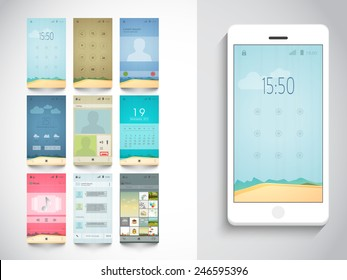 Modern different UI, UX and GUI template layout including Home, Calling, Weather, Calendar, Music Player, Messaging (Chat) and Album Gallery Screens for E-commerce Responsive Website and Mobile Apps.