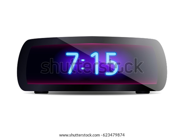 Modern Digital Alarm Clock Vector Illustration Stock Vector