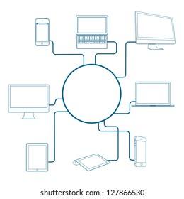 Modern Digital devices. Conceptual vector illustration