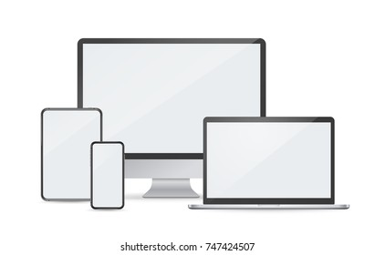 Modern digital devices vector mockup isolated on white. Smartphone. Laptop. Desctop. Tablet
