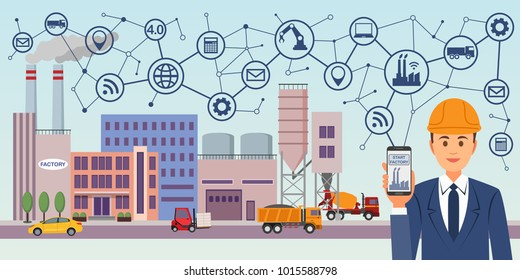 Modern digital factory 4.0. Industry 4.0 concept image. Industrial instruments in the factory with cyber and physical system icons, Internet.