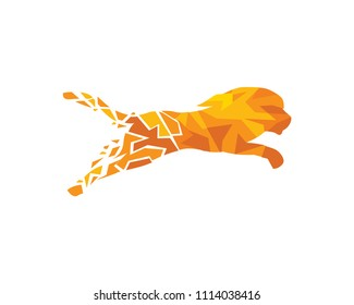Modern Digital Geometric Shape Abstract Technology Lion Logo Illustration In Isolated White Background