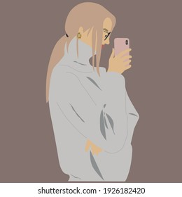 Modern digital portrait of a blonde girl with glasses and a sweater taking a selfie. Abstract portrait with a minimum of detail. Contemporary art in pastel colors.Contemporary portrait without outline