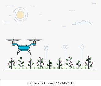 Modern digital smart farm. Quadcopter flying over the field. Drone farmer banner. Flat style line modern vector illustration for agriculture. Vegetables and plants pests.