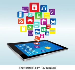 Modern digital tablet PC with Internet of things Apps. Internet of things concept illustration, Controlling your home appliances with tablet.Internet of things Apps/Internet of things Apps