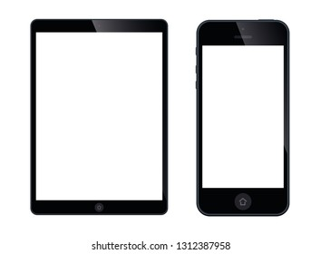 Modern digital tablet PC with mobile smartphone isolated on white - stock vector.