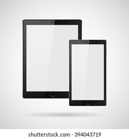 Modern digital tablet  PC with mobile smartphone isolated on white. Vector