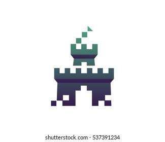 Modern Digital Technology Logo Symbol - Game Developer Pixel Castle Symbol