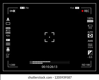 Modern digital video camera focusing screen with settings template. Black viewfinder mirrorless, DSLR or cameraphone camera recording. Vector illustration