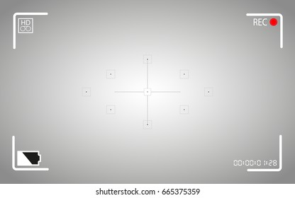 Modern digital video camera focusing screen isolated on background