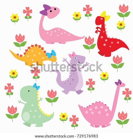 Modern Dinosaur Wallpaper Design Isolated Cute Stegosaurus And T Rex With Flowers
