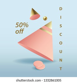 Modern discount announcement square banner with pink 3d geometric objects isolated on blue background