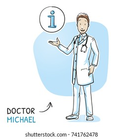 Modern doctor in white coat and stethoscope giving advice and information with icon in circle. Hand drawn cartoon sketch vector illustration, whiteboard marker style coloring.
