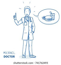 Modern doctor in white coat and stethoscope giving advice and warning about junk food with a concerned expression. Hand drawn blue outline line art cartoon vector illustration.