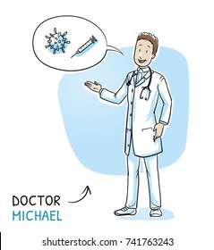 Modern doctor in white coat and stethoscope giving advice about vaccination. Hand drawn cartoon sketch vector illustration, whiteboard marker style coloring.