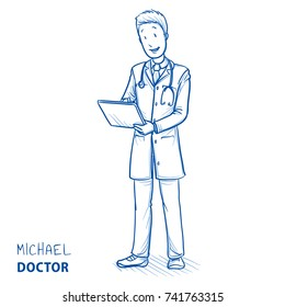 Modern doctor in white coat and stethoscope tapping on his tablet smiling and looking happy. Hand drawn blue outline line art cartoon vector illustration.
