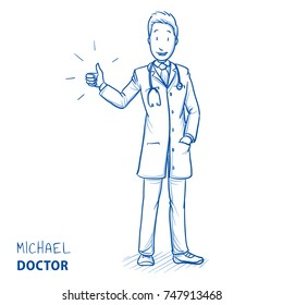 Modern doctor in white coat and stethoscope smiling and holding thumb up for liking, recommending or approving something. Hand drawn blue outline line art cartoon vector illustration.