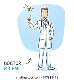 Modern doctor in white coat and stethoscope having idea with light bulb icon. Hand drawn cartoon sketch vector illustration, whiteboard marker style coloring.