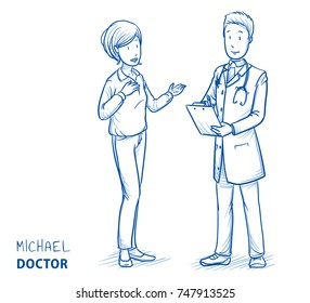 Modern doctor in white coat and stethoscope with talking patient, woman in casual clothes. Hand drawn blue outline line art cartoon vector illustration.