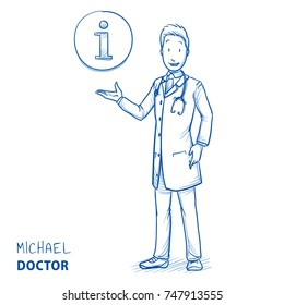 Modern doctor in white coat and stethoscope giving advice and information with icon in circle. Hand drawn blue outline line art cartoon vector illustration.