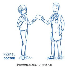 Modern doctor in white coat and stethoscope giving receipt at happy, smiling patient, woman in casual clothes. Hand drawn blue outline line art cartoon vector illustration.