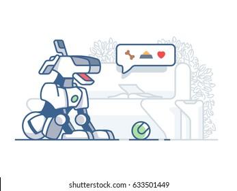 Modern dog robot. Latest technology, artificial pet vector flat illustration