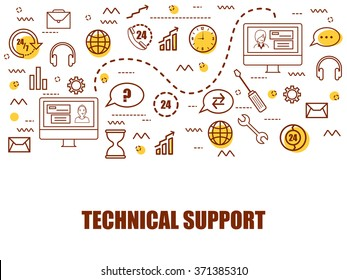Modern doodle style illustration for Technical Support and Online Customer Care Service.Can be used as Web Banner, Online Tutorial, Printed or Promotional Material.
