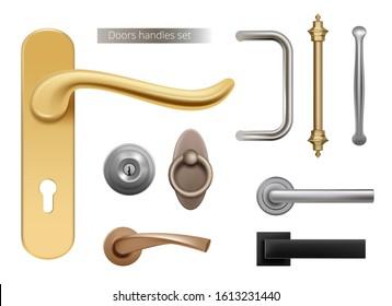 Modern door handles. Silver and golden metal furniture handles for opened room doors interior elements vector realistic
