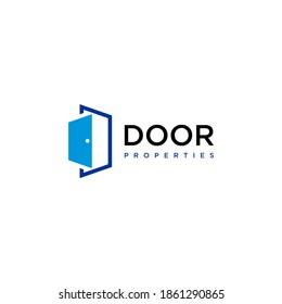Modern Door Home Property Interiors Logo Design vector